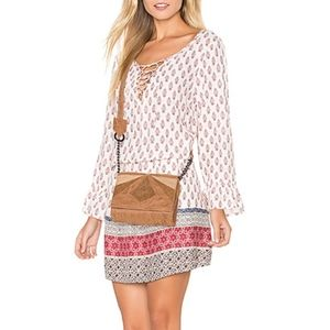 NWT Sanctuary Red Cream Pattern Lace Up Dress